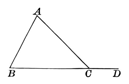 The image showing the triangle ABC with external angle ACD, vintage line drawing or engraving illustration.