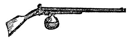 Air gun discharged by the elastic force of air, vintage line drawing or engraving illustration. Ilustração