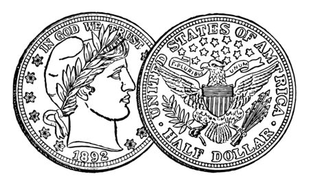 A picture is showing Silver Half Dollar Coin, 1892. Obverse side of coin shows right-facing image of man. Reverse side of coin shows eagle with shield on his back & holding arrows and branch in talons, vintage line drawing or engraving illustration.