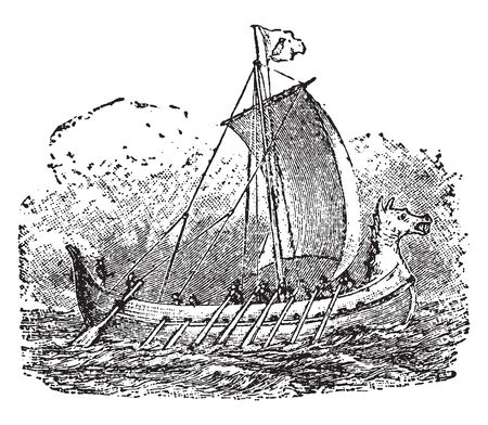 Norsemen is a name applied to the inhabitants of the coast regions of Scandinavia and North Germany, vintage line drawing or engraving illustration. Illusztráció
