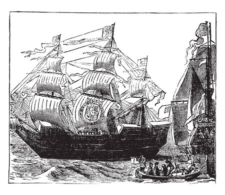 War Ships on the time of Charles II was king of England Scotland and Ireland, vintage line drawing or engraving illustration.