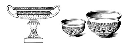 Egyptian pottery created vases made out of clay, vintage line drawing or engraving illustration. 向量圖像