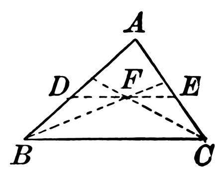 This is an image of the ABC triangle. In a triangle are the line of points B and C, which two lines intersect each other at point F, vintage line drawing or engraving illustration. Ilustração