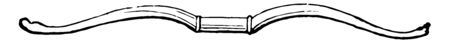A Grecian bow with a handle at the middle, vintage line drawing or engraving illustration.