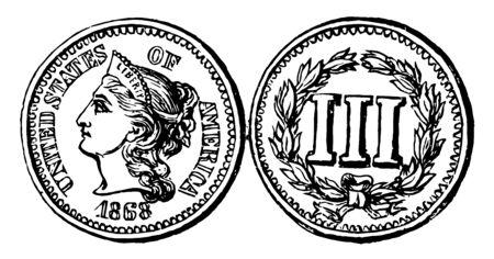 La imagen de la moneda de tres centavos de cobre y níquel, 1865. El anverso tiene un perfil de Liberty orientado hacia la izquierda. Muestra inversa (III) rodeado por una corona de rama de olivo, línea vintage de dibujo o ilustración de grabado. Ilustración de vector