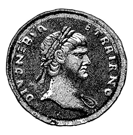 A coin that shows the bust of an emperor looking to the right, vintage line drawing or engraving illustration.