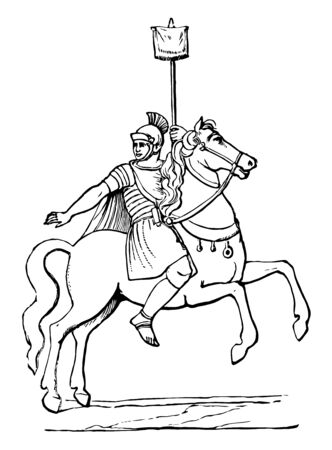 This is the image of Roman Cavalryman. He is sitting on the back of the horse. caryrman of Caesar's army during the Roman Republic, vintage line drawing or engraving illustration.