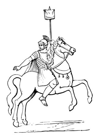 Warrior sitting on horseback and holding the flag in his left hand, vintage line drawing or engraving illustration.