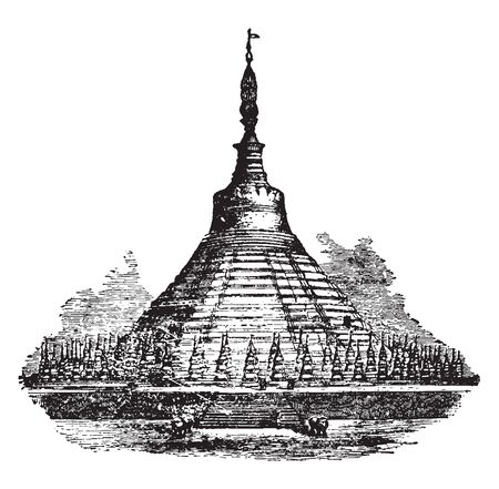 Shoemadoo of Pagoda which is a specimen of the Burmese style of temples is presented in the Shoemadoo, vintage line drawing or engraving illustration. 일러스트