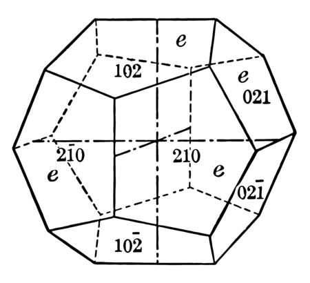 This shape consists of twelve faces of pentagonal shape, each of these axes intersect, vintage line drawing or engraving illustration.
