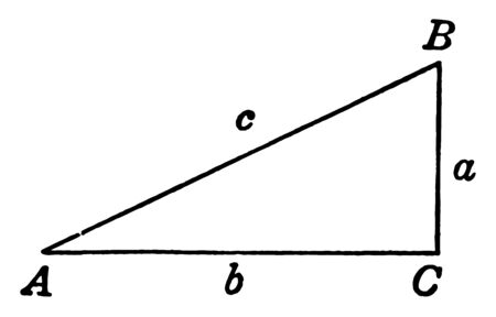 This is an image of triangle ABC. A, B, C are the sides of this triangle, vintage line drawing or engraving illustration.