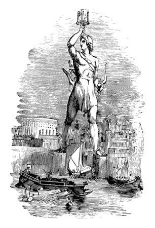 Die Statue von Helios, Vintage-Linienzeichnung oder Gravurillustration.