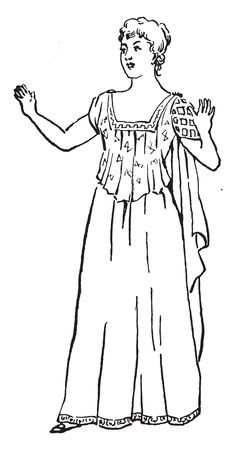 A woman raising both hands, a gesture of wonderment, vintage line drawing or engraving illustration