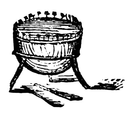 Kettle drum made of a copper vessel and usually hemispherical, vintage line drawing or engraving illustration.