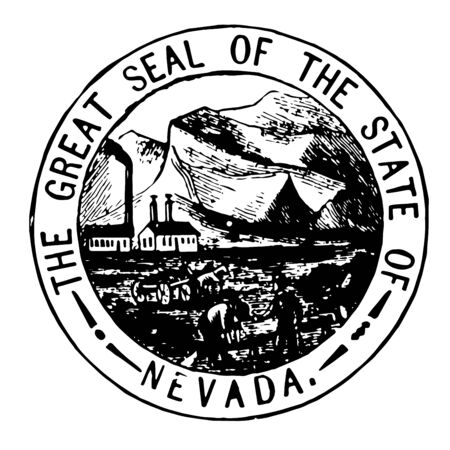 Nevada seal of Territory adopted in 1862 vintage line drawing. 일러스트