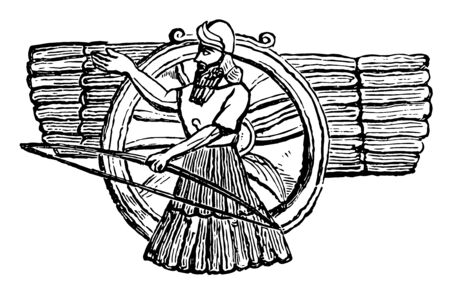 The image shows the ancient idol Nisroch. There are humans along with a bow and an arrow and there is a wheel on its back, vintage line drawing or engraving illustration. Stock Illustratie