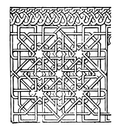 The picture shows Mudejar Panel. It is beautiful tile along with design. It is mostly found in Spain and it is resulting from the mixture of Gothic and Moorish styles, vintage line drawing or engraving illustration. Stockfoto - 132956634