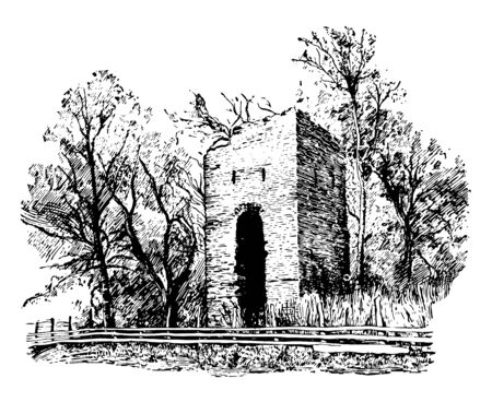 Jamestown is now an island, Only the ruins of the brick church erected in 1639 and some of the tombs in the churchyard remain vintage line drawing. Ilustração