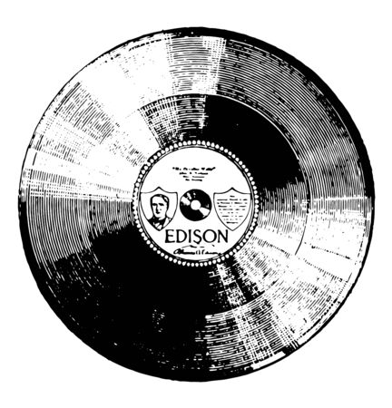 Edison disk record is a type of phonograph record marketed by Thomas A, vintage line drawing or engraving illustration. 矢量图像