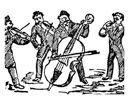 Quartet where the set of four persons who perform a piece of music in four parts, vintage line drawing or engraving illustration. Ilustrace