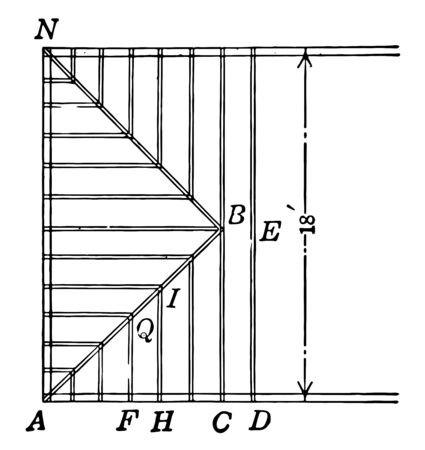 An example of roof and parallel beams with rise and stroke to show the tone, vintage line drawing or engraving illustration.