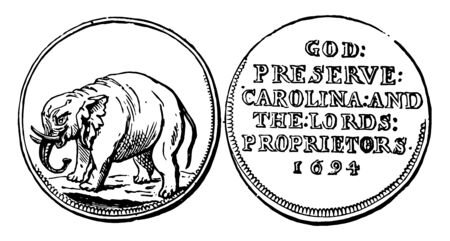 A picture is showing Copper Half Pence Coin, 1695. This coin is showing the Elephant and reverse bears the inscription - GOD: PRESERVE: CAROLINA: AND THE: LORDS: PROPRIETORS 1694, vintage line drawing or engraving illustration.