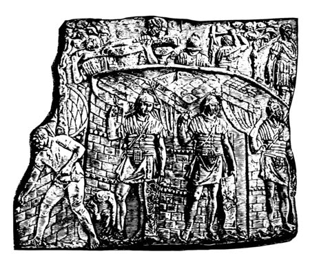 The sculpture that shows the construction of the camp by the soldiers and some guards provide security to those who work, vintage line drawing or engraving illustration. 向量圖像