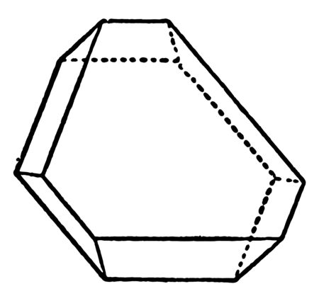 A diagram of Misshapen Octahedra. It extends in the direction of one of the edges of the octahedron, vintage line drawing or engraving illustration. Banque d'images - 132956392