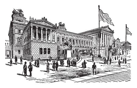 Parliament Building in Vienna in Austria is where the two houses of the Austrian Parliament conduct their sessions, vintage line drawing or engraving illustration.