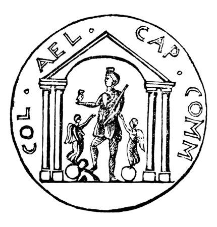 An image showing a man worshiping an idol, vintage line drawing or engraving illustration.