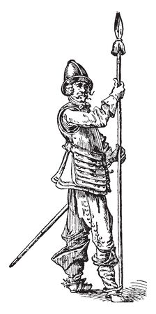 A soldier holding a pike ,vintage line drawing or engraving illustration. Ilustracja
