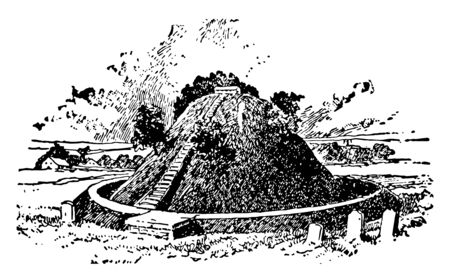 This is the image of Mount Builders. It has the circular shape. There are small little steps on the surface of Mound Builders, vintage line drawing or engraving illustration.