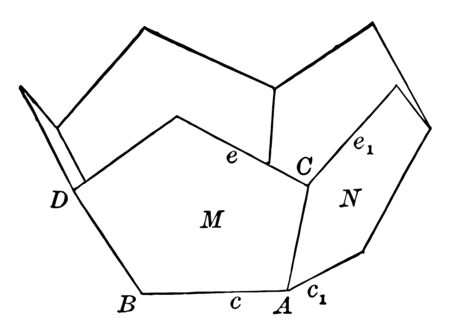 The sample of the lower half of the regular dodecahedron. A regular dodecahedron is a polyhedron with twelve similar pentagonal faces, vintage line drawing or engraving illustration.