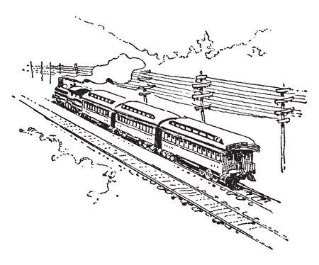 Railroad is a means of transferring of passengers and goods on wheeled vehicles running on rails, vintage line drawing or engraving illustration.