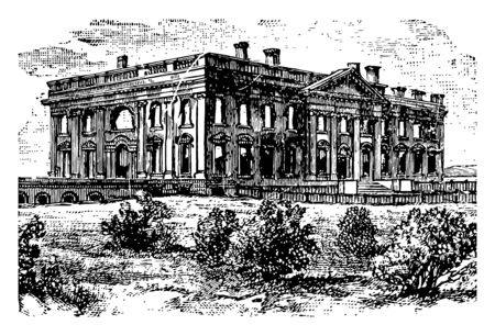 White house ruins after conflagration of august 1814 vintage line drawing.