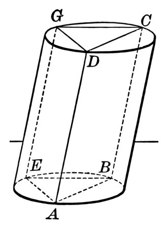 The image shows the triangle Prism inscribed in Cylinder. There is a vertical prism inside the transparent hole and a long cylinder, vintage line drawing or engraving illustration. Çizim