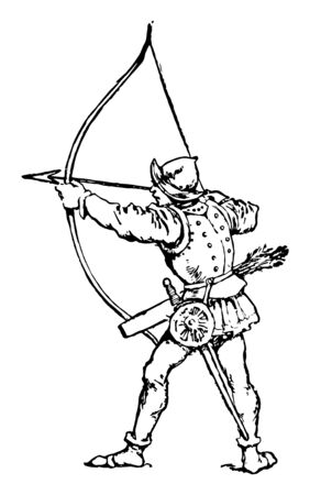 Long Bow which is an archer using a long bow, vintage line drawing or engraving illustration.