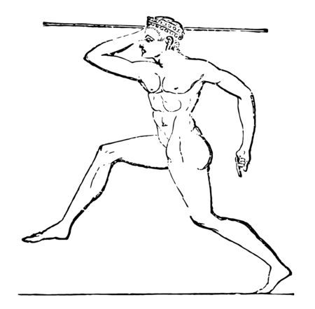 A Greek throwing a Javelin, vintage line drawing or engraving illustration.