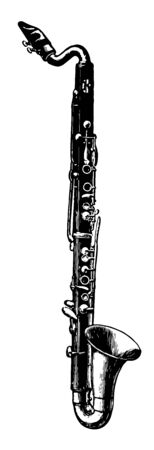Basset Horn having a wider bell and greater range than a standard clarinet, vintage line drawing or engraving illustration.
