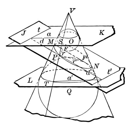 The image shows a cone that shows its conical sections. Each section labeled with a letter of the alphabet. Cone cut by several planes to represent the conic sections as a circle, ellipse, vintage line drawing or engraving illustration. Çizim