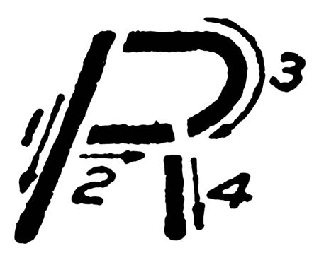 This image shows the stroke directions when writing the letter R using inclined capital, vintage line drawing or engraving illustration. 向量圖像