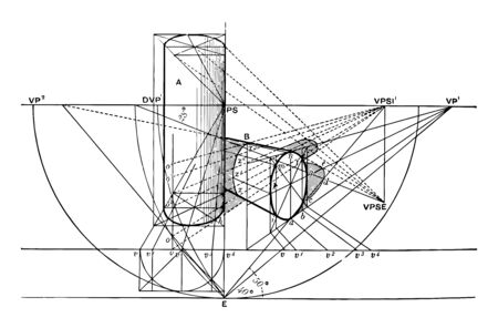 Two cylinders, one horizontal, the perpendicular alternative. The base of the horizontal cylinder is at an angle of 40  with the PP. the inclination of the sun 50  m of elevation 28 , vintage line drawing or engraving illustration.