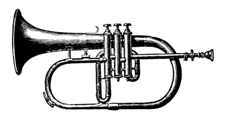 Alto Saxhorn a valved brass wind instruments that resemble the bugle and have a full even tone and wide compass, vintage line drawing or engraving illustration.