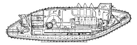 This illustration represents Medium Mark V Tank Plan, vintage line drawing or engraving illustration.