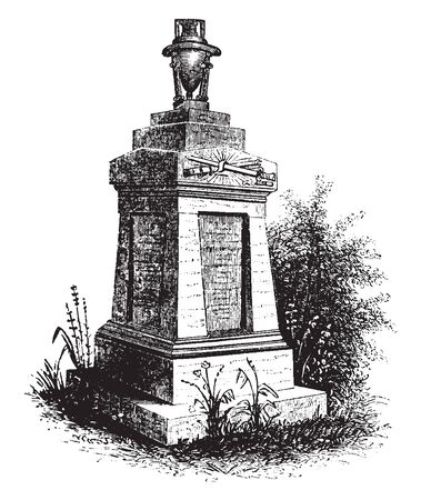 Monument of General Hugh Mercer, a Scottish soldier and physician. ,vintage line drawing or engraving illustration. 向量圖像