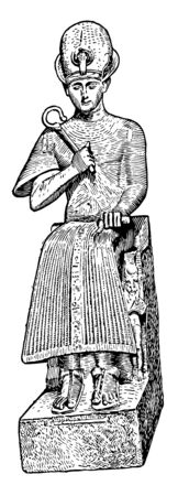 Ramses II Seated is an eight foot tall statue representing Ramses, vintage line drawing or engraving illustration.