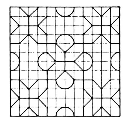 The image shows a beautiful tiling design along with a repetitive design pattern. Square in which there are 12 rows and 12 columns and each row has a bow, generates a design of Rangoli, vintage line drawing or engraving illustration. Ilustração