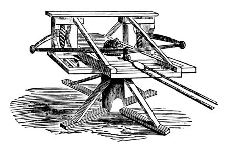 Ballista which is the larger kinds of military weapons in use before the invention of gunpowder, vintage line drawing or engraving illustration.