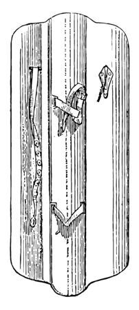 Enarme is the leather gripping straps attached to the back of shields throughout the Medieval period, vintage line drawing or engraving illustration.