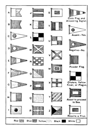 Naval signaling covers various forms of flag signalling, vintage line drawing or engraving illustration. Foto de archivo - 132955112